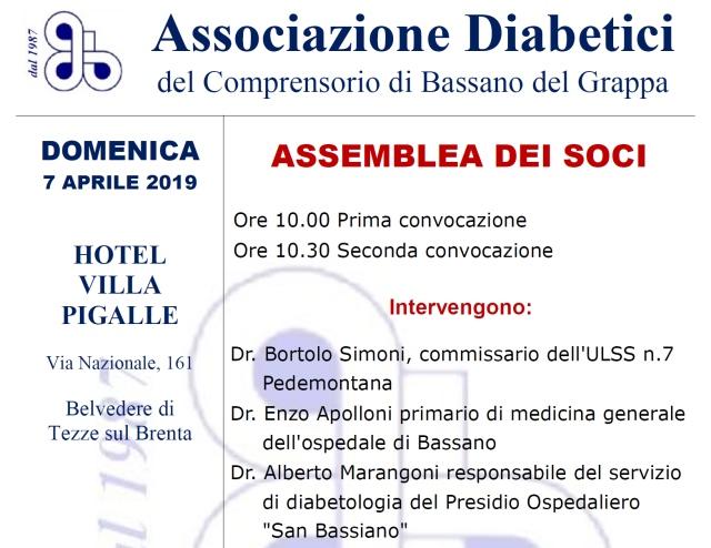 Assemblea Annuale Associazione Diabetici di Bassano del Grappa 2019